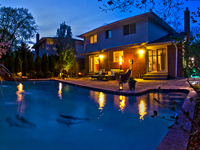 Night Photography of Home for Sale in Mississauga (Backyard Pool Area)